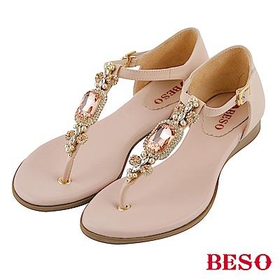 BESO 璀璨奢華 閃耀珍珠寶石T帶真皮涼鞋~粉