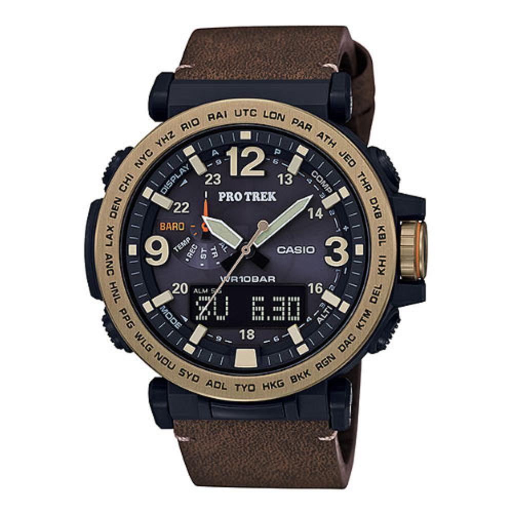 PROTREK粗曠威武高亮度照明戶外登山皮帶錶(PRG-600YL-5)咖啡X黑/51mm