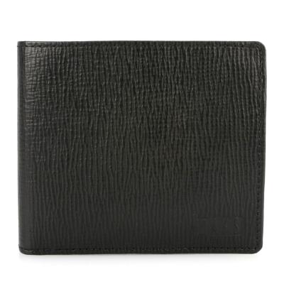 DAKS 防刮皮革壓扣零錢袋短夾-黑色