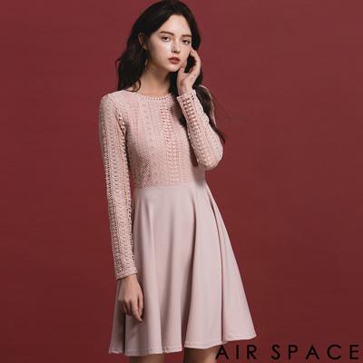 AIR SPACE 雕花蕾絲美背傘襬洋裝(粉紅)