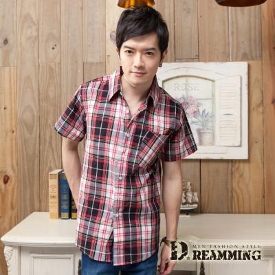Dreamming 格紋學院氣質純棉短袖休閒襯衫-紅色