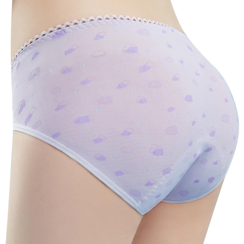 思薇爾 朵朵雲輕甜風系列M-XXL日用低腰生理褲(縞紫色)