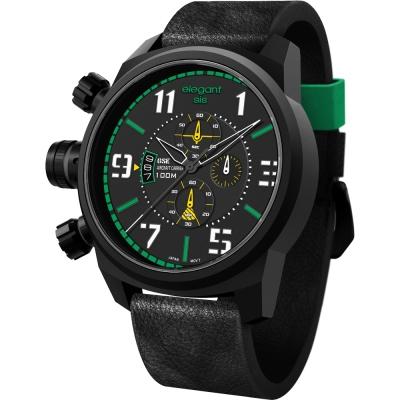 elegantsis Army 叢林戰鬥強悍三眼計時腕錶-黑x綠/48mm