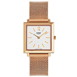 Henry London 英倫時尚米蘭帶手錶-白X玫瑰金框/26mm
