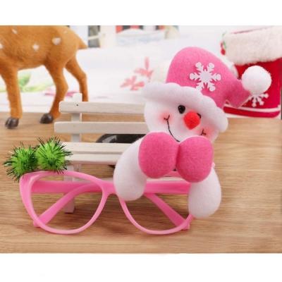 摩達客 聖誕派對造型眼鏡-粉紅帽雪人