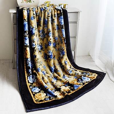 品質本位 花海情緣-藍 日製雙層單人毯