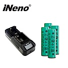 iNeno-2200mAh平頭 18650鋰電池4入組+VIPi1 單槽鋰電池充電器