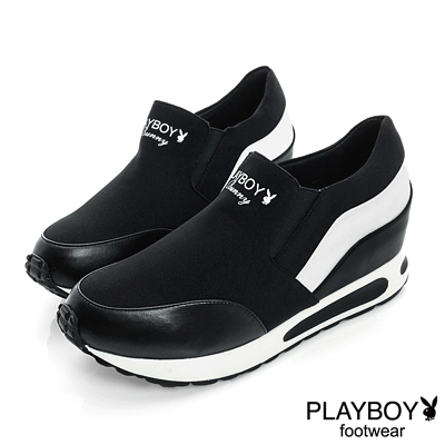 PLAYBOY-潮流進行曲-雙色拼接內增高休閒鞋-黑-女