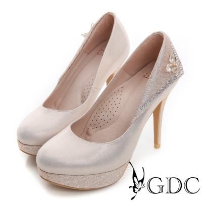 GDC幸福-真皮側金屬蝴蝶結水鑽拼接加高水台高跟鞋(婚鞋)-粉色