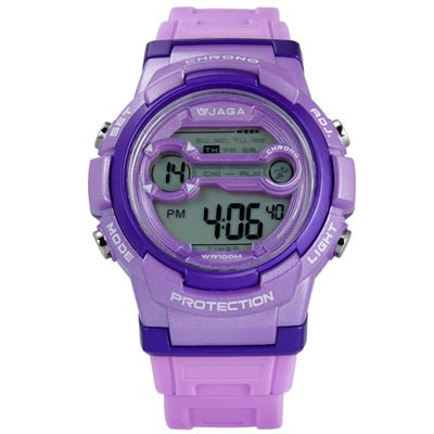 JAGA 捷卡 搶眼青春活力電子運動橡膠手錶-紫色/39mm