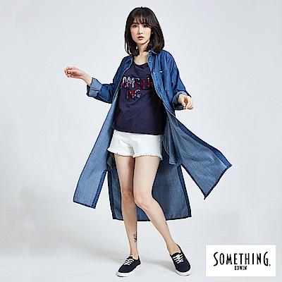 SOMETHING 簡約長版都會襯衫-女-中古藍