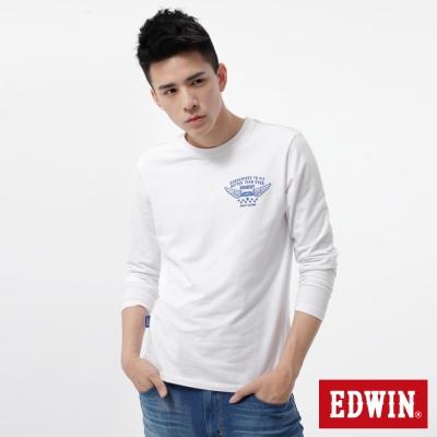 EDWIN-T恤-植絨印花配色T恤-男-白色