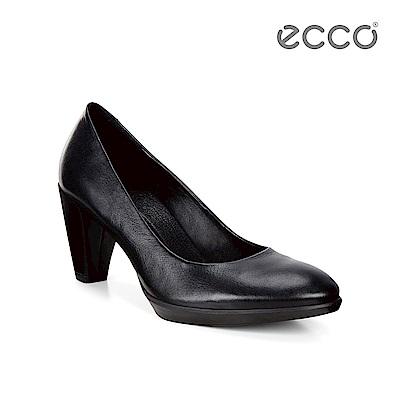 ECCO SHAPE 55 PLATEAU 時尚粗跟尖頭氣墊高跟鞋-黑