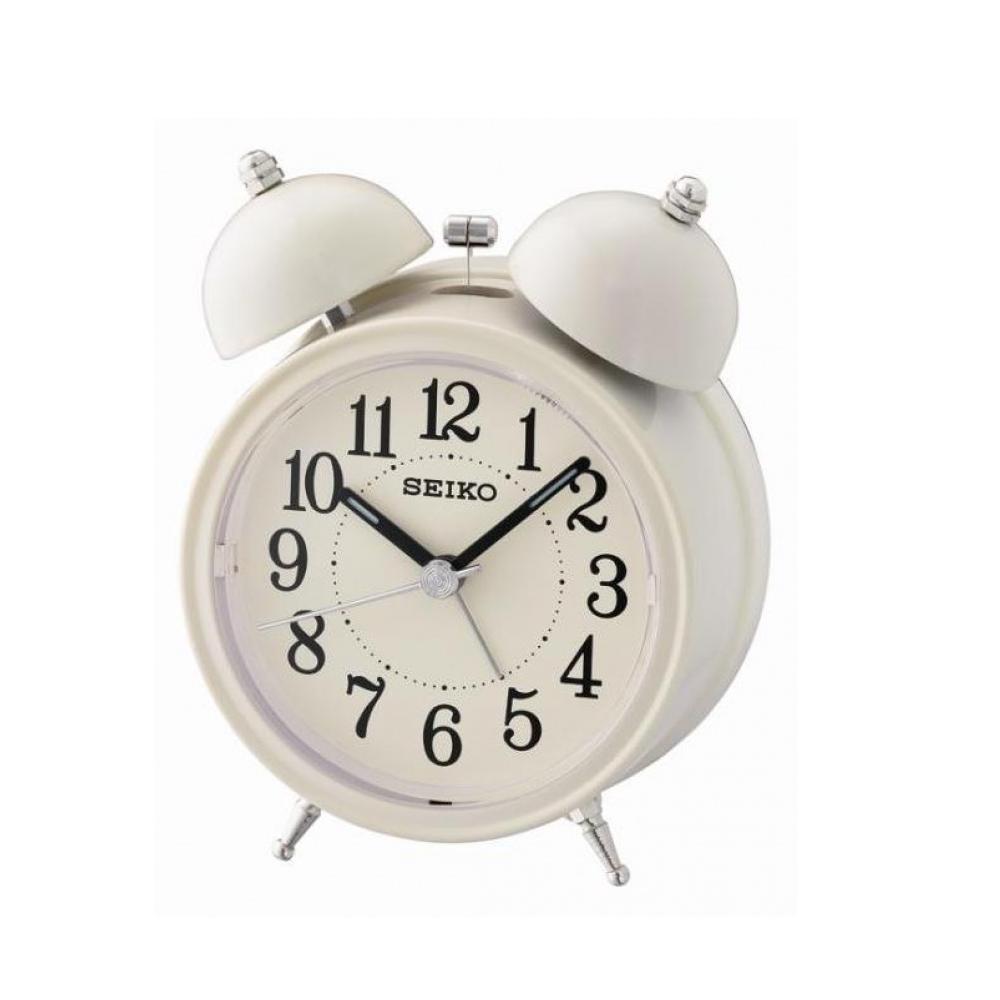 SEIKO 精工 響鈴聲 靜音 貪睡鬧鐘(QHK035C)-白/11.1X8.4cm