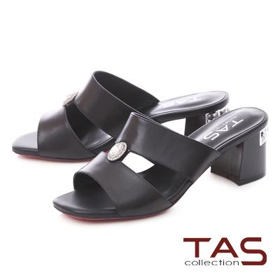 TAS水鑽圓飾鏤空方頭粗跟涼拖鞋-經典黑