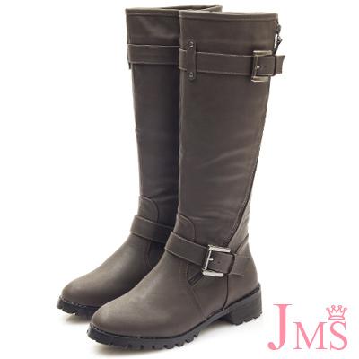 JMS-帥氣鍊條造型款雙扣環軍裝長靴-咖啡色