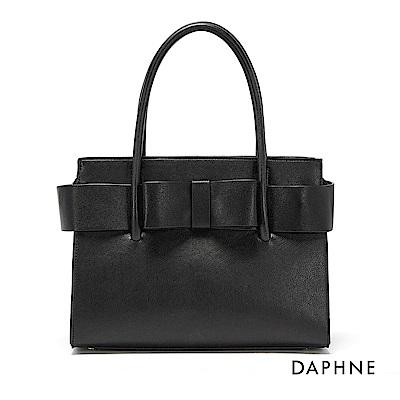 達芙妮DAPHNE-立體蝴蝶結手提斜背兩用方包-黑