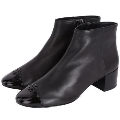 TORY BURCH Jolie 漆皮拼接皮革踝靴(黑色)