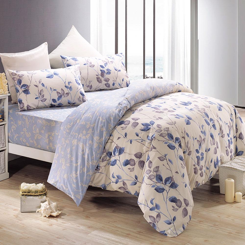鴻宇HongYew 100%精梳棉 蜜拉貝兒-藍 雙人床包三件組