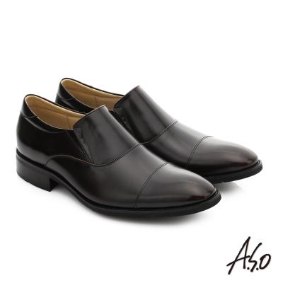 A.S.O 菁英通勤 真皮直套式奈米紳士鞋 茶色