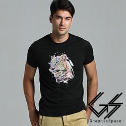 漸層水彩豹頭磨毛水洗T恤(共二色)-GraphicSpace