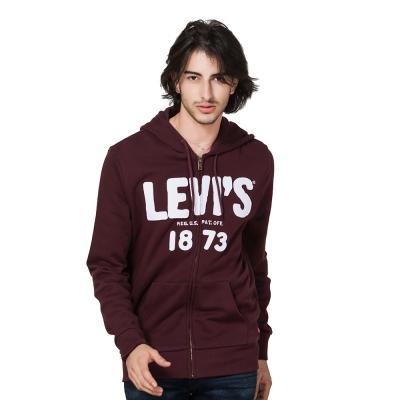 Levis經典大logo長袖連帽外套男-酒紅