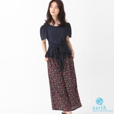 earth music 露肩腰綁帶上衣+印花寬褲