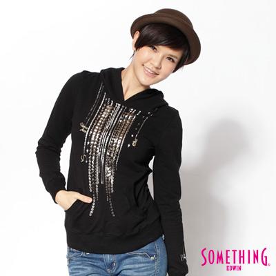 SOMETHING-個性銅片帥性帽T-女款-黑色