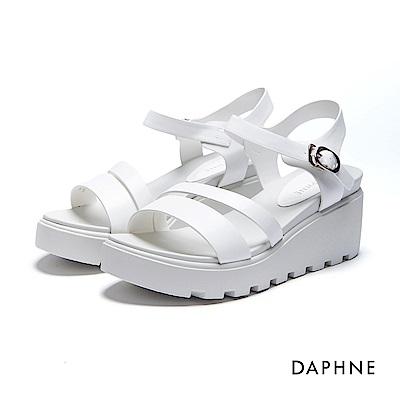 達芙妮DAPHNE 涼鞋-一字雙條帶楔型涼鞋-白