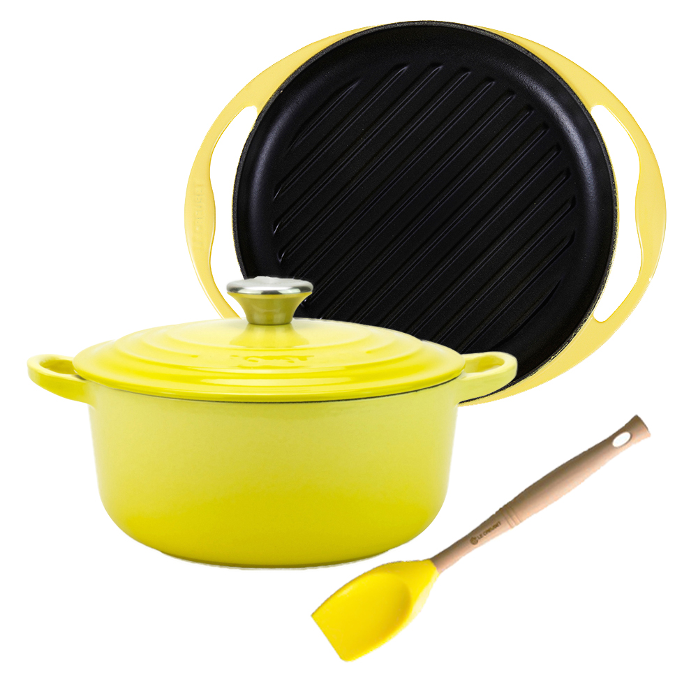 LE CREUSET 圓鐵鍋 18cm 鋼頭+雙耳圓型鐵烤盤 + V鏟杓