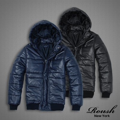 【 Roush 】高領連帽橫車線鋪棉風衣 (2色)