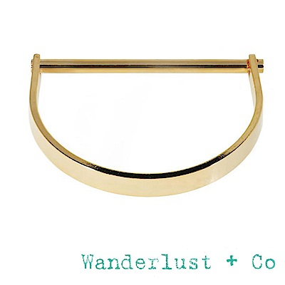 Wanderlust+Co 澳洲品牌 金色半月形X平衡骨幾何造型手環 BAR