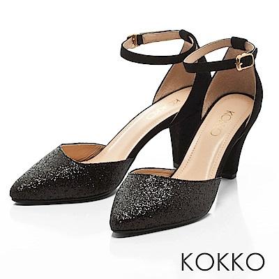 KOKKO -仙履童話尖頭踝帶真皮高跟鞋-晶亮黑