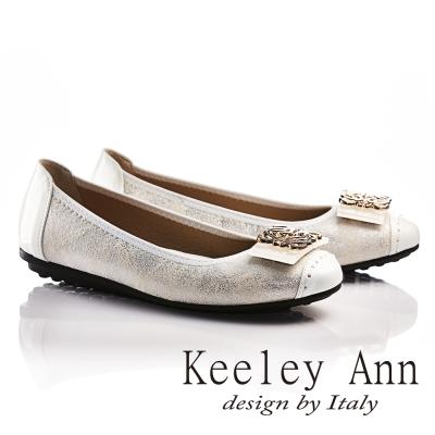 Keeley Ann閃閃動人金屬釦飾拼接真皮平底娃娃鞋(白色)