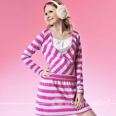 ohoh-mini-孕婦裝-亮麗條紋假二件式哺乳洋裝-共二色