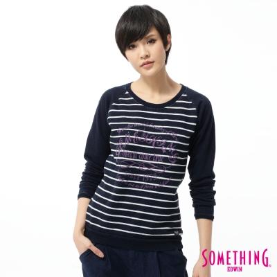 SOMETHING-T恤-休閒印花拼條T恤-女-原藍磨