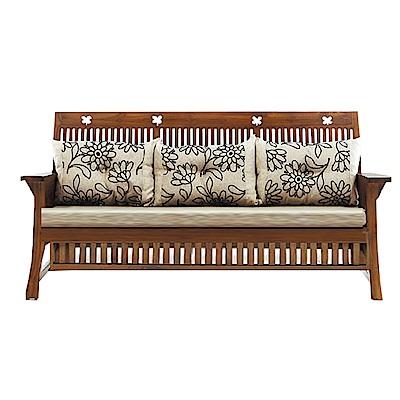 品家居 爾莎亞麻布柚木實木三人椅-174x70x90cm-免組