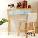 CiS自然行實木家具 書桌-電腦桌-化妝桌-邊桌W80cm(原木鄉村藍色)