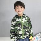 Azio Kids 童裝-連帽外套 迷彩口袋拉鍊搖粒絨風衣外套(綠)