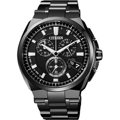 CITIZEN 【鈦】金屬萬年曆5局電波腕錶(BY0044-77E)-黑/44mm