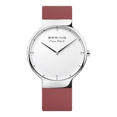 BERING- MAX RENE設計師聯名款 白錶盤x薔薇紅 矽膠錶帶40mm