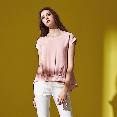 簡約知性翻袖下擺鬆緊抽摺造型上衣(兩色)-粉