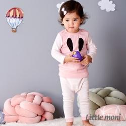 Little moni 純棉家居系列條紋長褲 淺珊瑚
