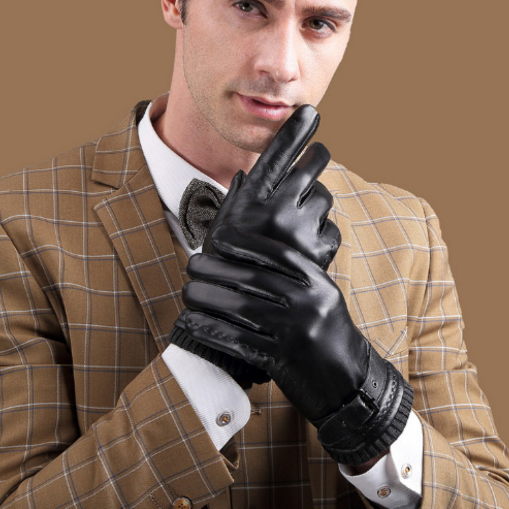 ego life小羊皮皮帶扣加絨裡觸控保暖男手套  黑色