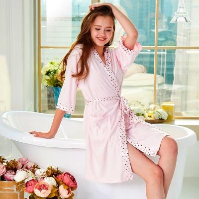 浴袍 吸濕速乾毛巾布 女性舒適浴袍(69229)粉色-台灣製造 蕾妮塔塔
