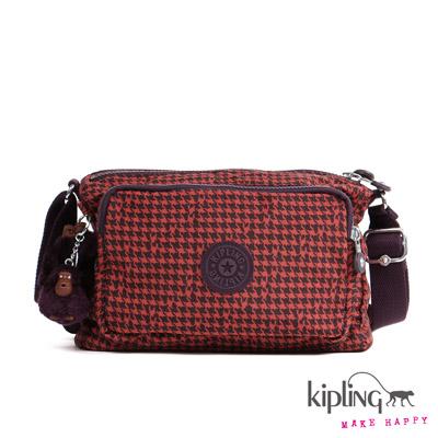 Kipling-斜背包-深紅千鳥紋