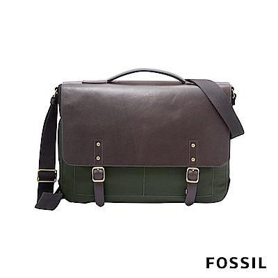 FOSSIL HASKELL 商旅真皮公事包-焦糖啡色/墨綠帆布