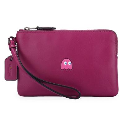 COACH-限量小精靈系列素面皮革L型拉鍊手拿包-桃紫色