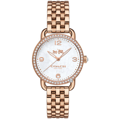 COACH Delancey 紐約星光 優雅晶鑽女錶(14502479)-玫瑰金 28mm
