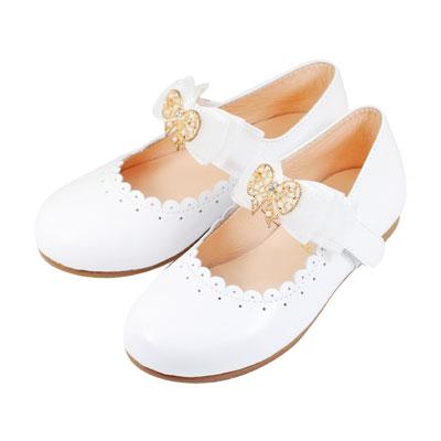 Swan天鵝童鞋-真皮小圓花邊蝴蝶結公主鞋 3833-白